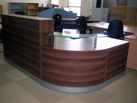 office reception area furniture curved reception desk with black velvet padded front