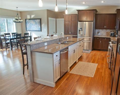 kitchen layout concepts open concept kitchen with hickory stained perimeter