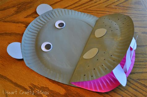 Hippo Paper Plate Craft - paper plate hippopotamus i crafty things