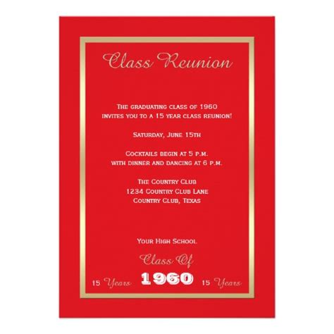 high school class reunion invitation any year custom
