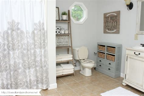 farmhouse style bathroom makeover of family home