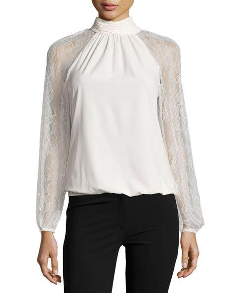 Blouse Turtle Neck lyst catherine malandrino lace panel turtleneck