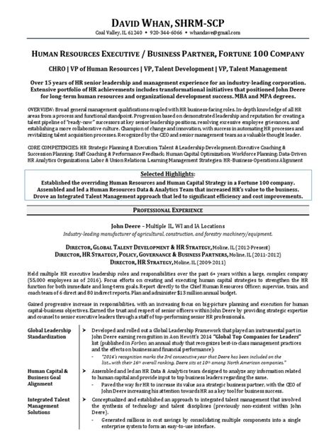 Vp Talent Management Resume by Chro Global Vp Hr In Chicago Il Resume David Whan Human
