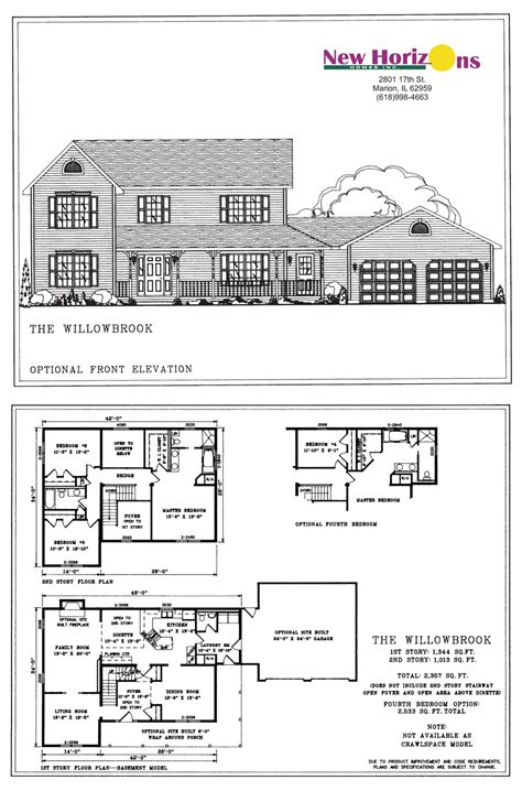 2 story house floor plans and elevations model homes floor plans marion il new horizons homes inc