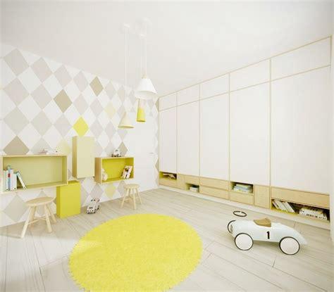 Incroyable Idee Peinture Chambre Ado #6: chambre-enfant-blanche-jaune-pastel-d%C3%A9co-murale-papier-peint-motifs.jpg