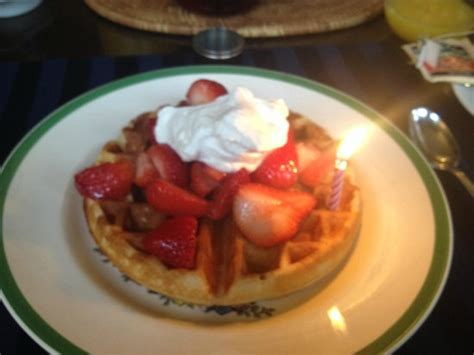 carolina bed breakfast belgian waffles with homemade whipped cream mine with a candle for my birthday small