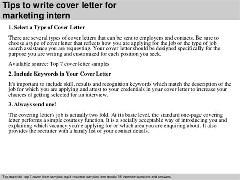 cover letter sle internship marketing intern cover letter