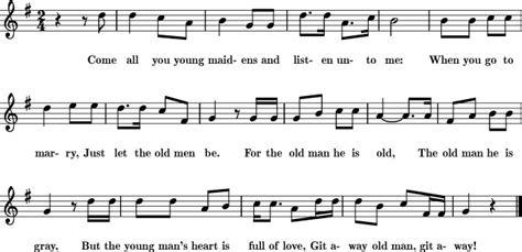 chords for swing life away git away old man sheet music for treble clef instrument
