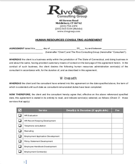 retainer fee agreement template sle consulting retainer agreements 9 exles in