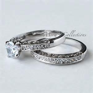 75ct vintage filigree bridal wedding engagement ring band set women