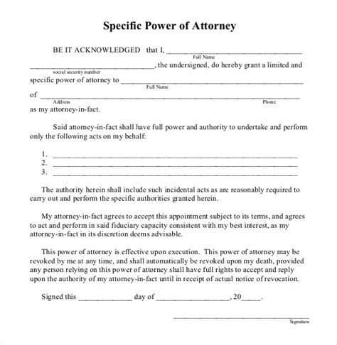 Free Power Of Attorney Templates Sle Format Get Calendar Templates Free Poa Template