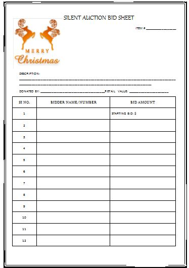 bid free silent auction bid sheet templates in word printable