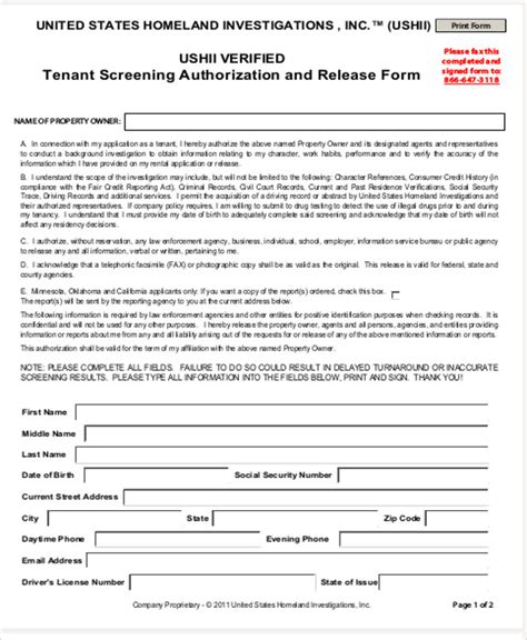 Background Check Authorization Form For Tenant 28 Rental Background Check Form California Sle