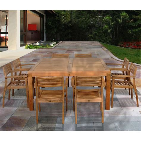 amazonia victoria square 9 piece teak patio dining set sc