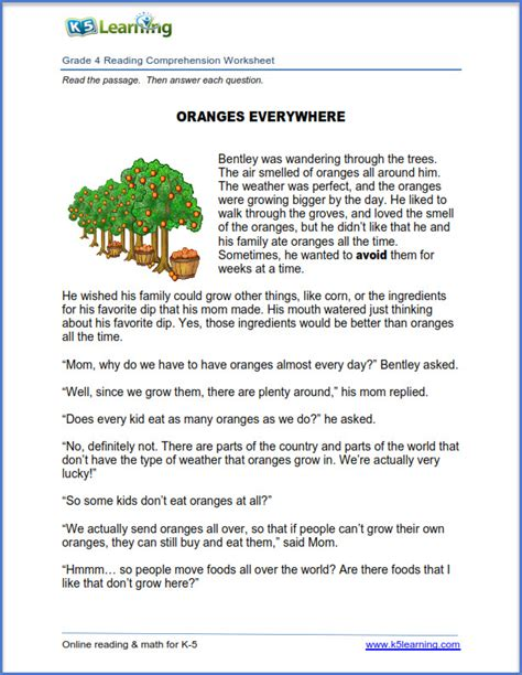 comprehension worksheets grade 4 the large and most