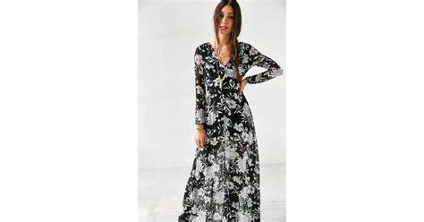 lyst glamorous floral chiffon maxi dress in black
