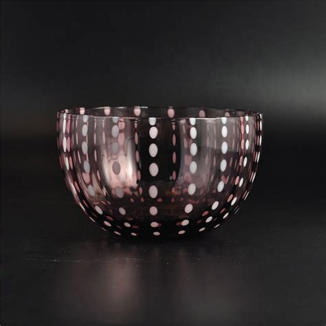 Handmade Glass - handmade glass candle bowl with different color
