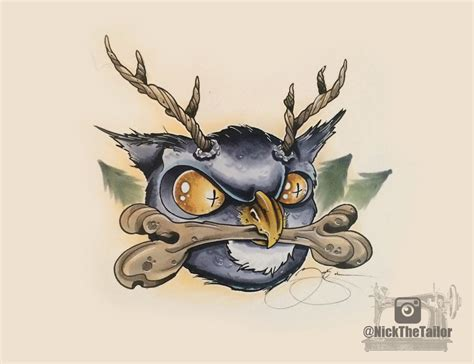 tattoo new school designs horned owl new school design by