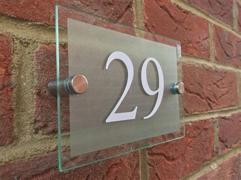 Glass Door Numbers Plaques Modern House Hotel Sign Plaque White Door Number Glass Effect Acrylic Ebay