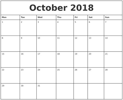 october printable monthly calendar