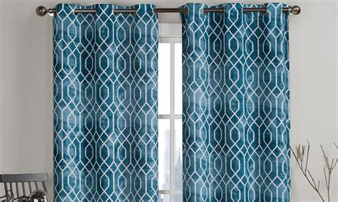curtains with geometric patterns pair of geometric pattern curtains 84 quot or 96 quot long groupon