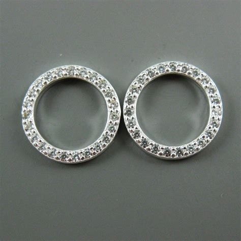 Circle Earrings sterling silver earrings cz cubic zirconia pave