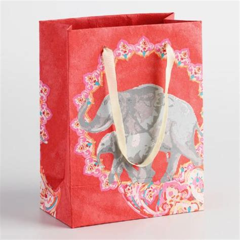 Handmade Small Bags - small elephant handmade paper gift bags set of 2 world