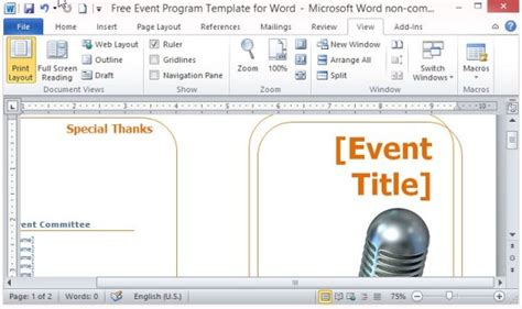free event program templates word free event program template for word powerpoint presentation