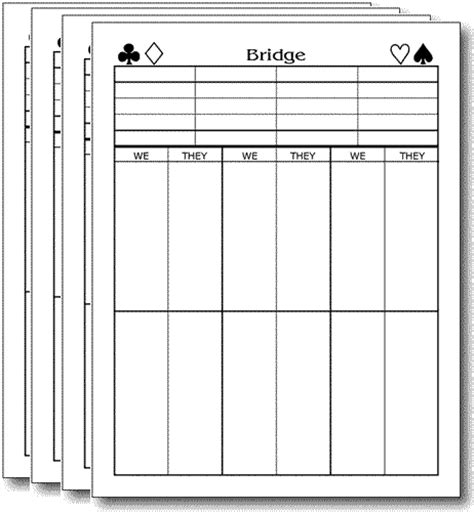 bridge score card template basic small size bridge score pads