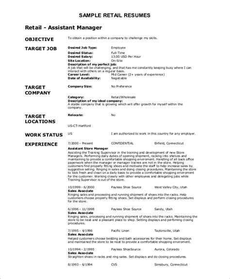 career objective retail assistant resume objective exle 10 sles in word pdf