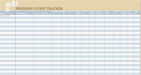 Wedding Guest List Template Microsoft Excel Templates Free Wedding Guest List Template