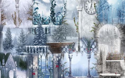 hd winter lights collage wallpaper