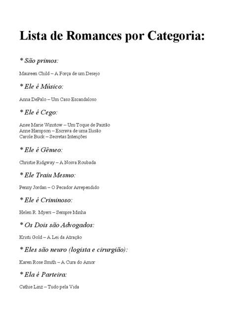 Lista de Romances Por Categoria