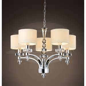 d chandelier arc and white shades 5 light chrome chandelier
