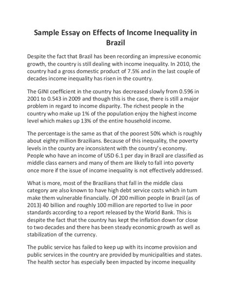 Inequality Essay by Income Inequality Essay Sle Essay On Effects Of Income Inequality In Brazil Ayucar