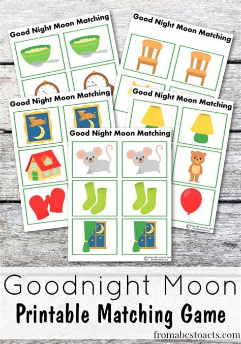 Goodnight Moon Worksheet by Free Printable Goodnight Moon Matching