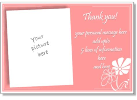 thank you card for birthday template printable photo thank you card templates personalized
