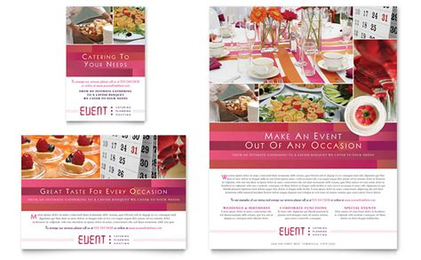 event brochure templates corporate event planner caterer flyer ad template