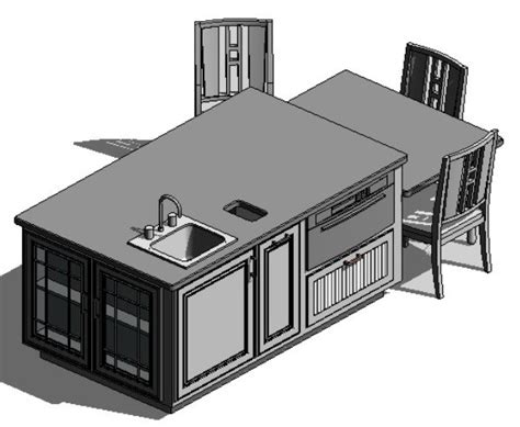 Free Model Kitchen Dinning Set   Revit Model Download