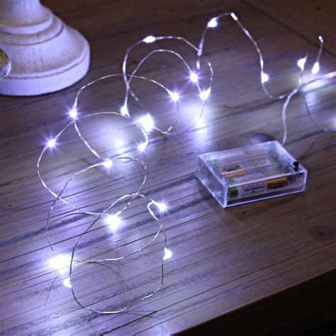 wire lights 20 micro led battery operated lights silver wire