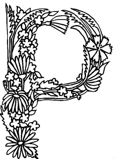 alphabet coloring pages with flowers alphabet flower coloring page coloring home