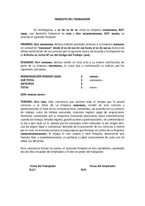 carta de finiquito finiquito modelo comun