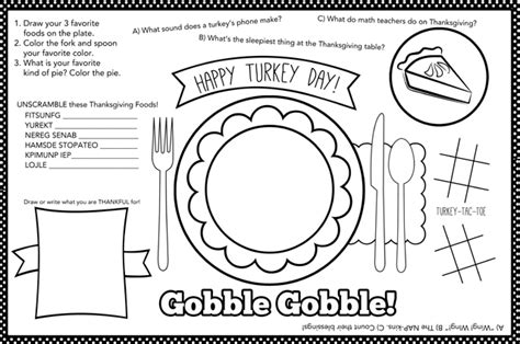thanksgiving coloring placemats thanksgiving placemat 12 free thanksgiving