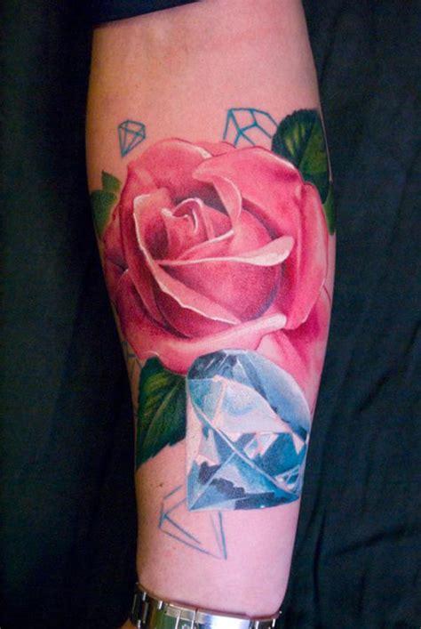 tatouage diamant et fleur inkage