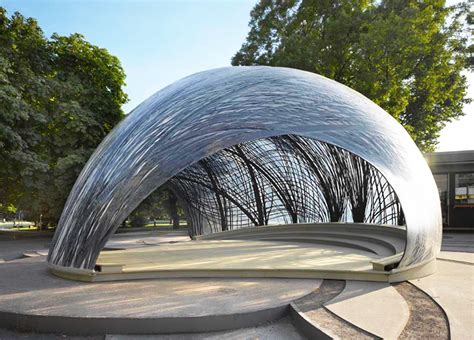 Pavillon Uni Stuttgart by Lightweight Pavilion Mimics The Structure Of Water Spider