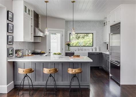 Grey And White Kitchen Cabinets Gray Distressed Kitchen Cabinets With Marble Herringbone Tiles Contemporary Kitchen