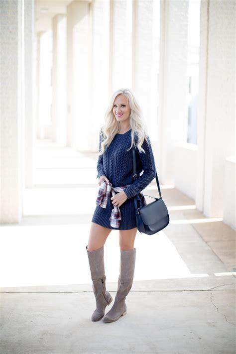 cable knit sweater dress knee high boots mckenna bleu