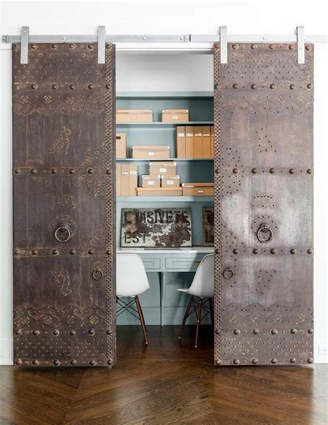 Interior Doors On Rails Closet Office With Metal Doors On Rails Contemporary Den Library Office