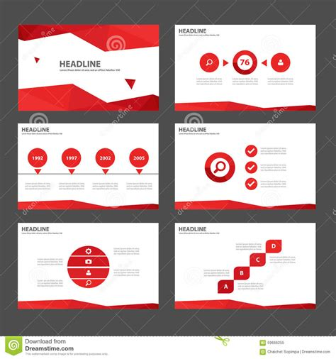 red multipurpose infographic elements and icon