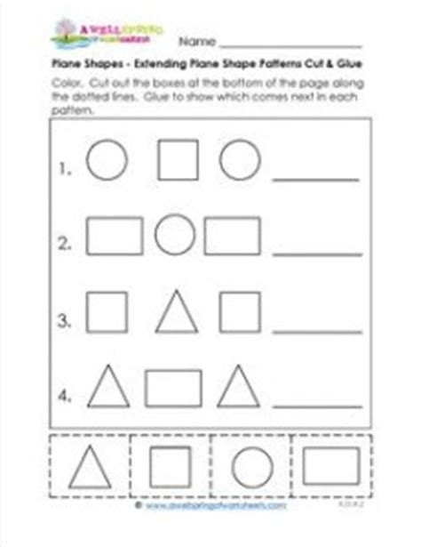 extend patterns worksheets for kindergarten plane shapes extending plane shape patterns cut glue